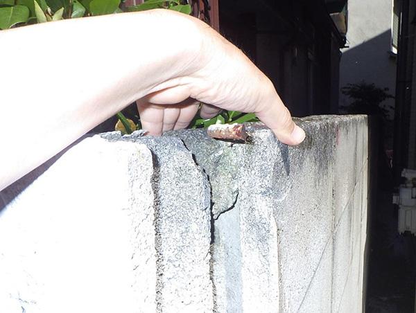 ブロック塀の亀裂